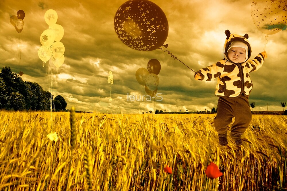Child with balloons by laura-S