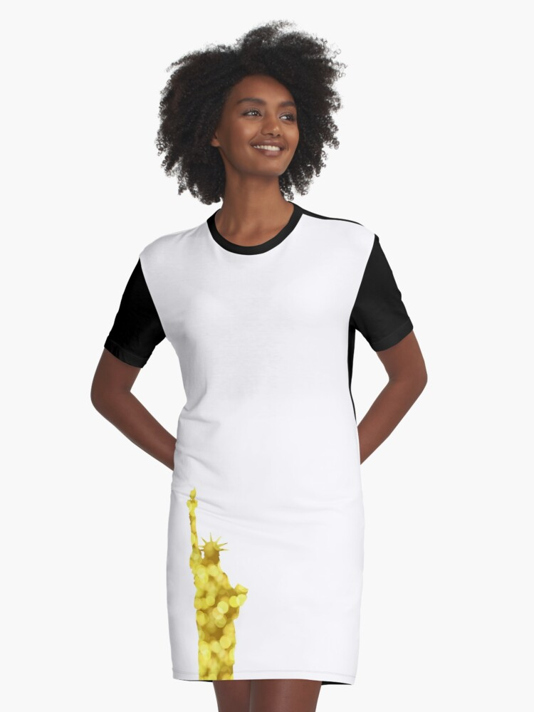 Gold large bokeh Statue of Liberty silhouette on white Graphic T-Shirt Dress Front