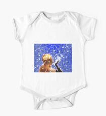 Blond girl is blowing snowflakes One Piece - Short Sleeve