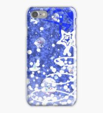 Blue Christmas background iPhone Case/Skin