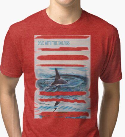 Grey dolphin Tri-blend T-Shirt