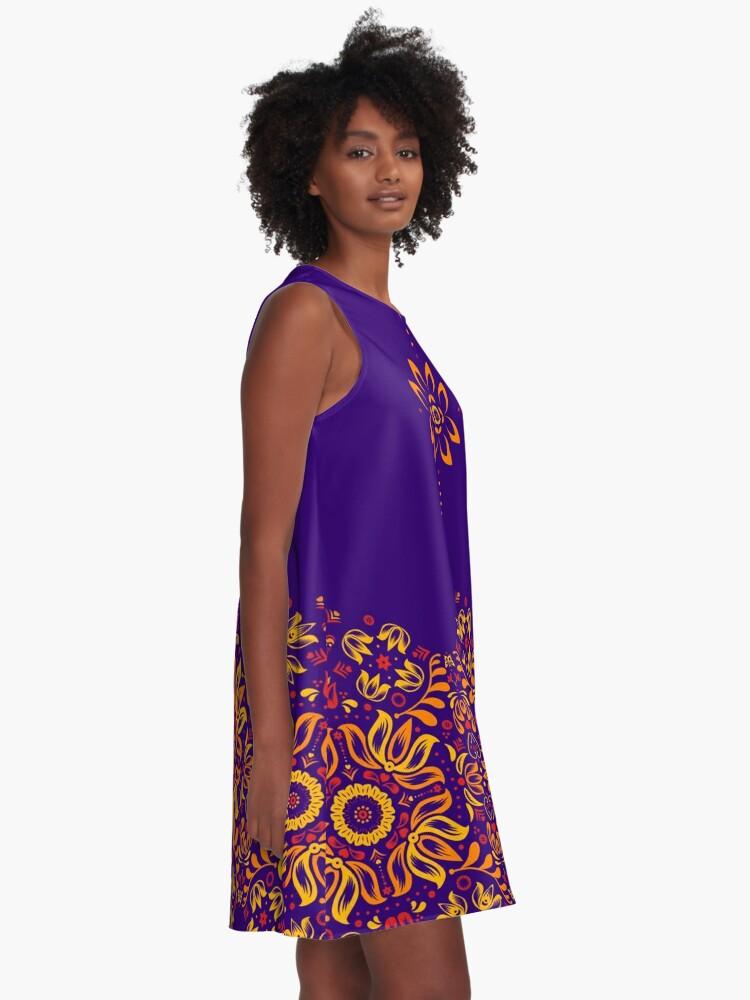 Alternate view of Fiery Floral Folk Pattern A-Line Dress