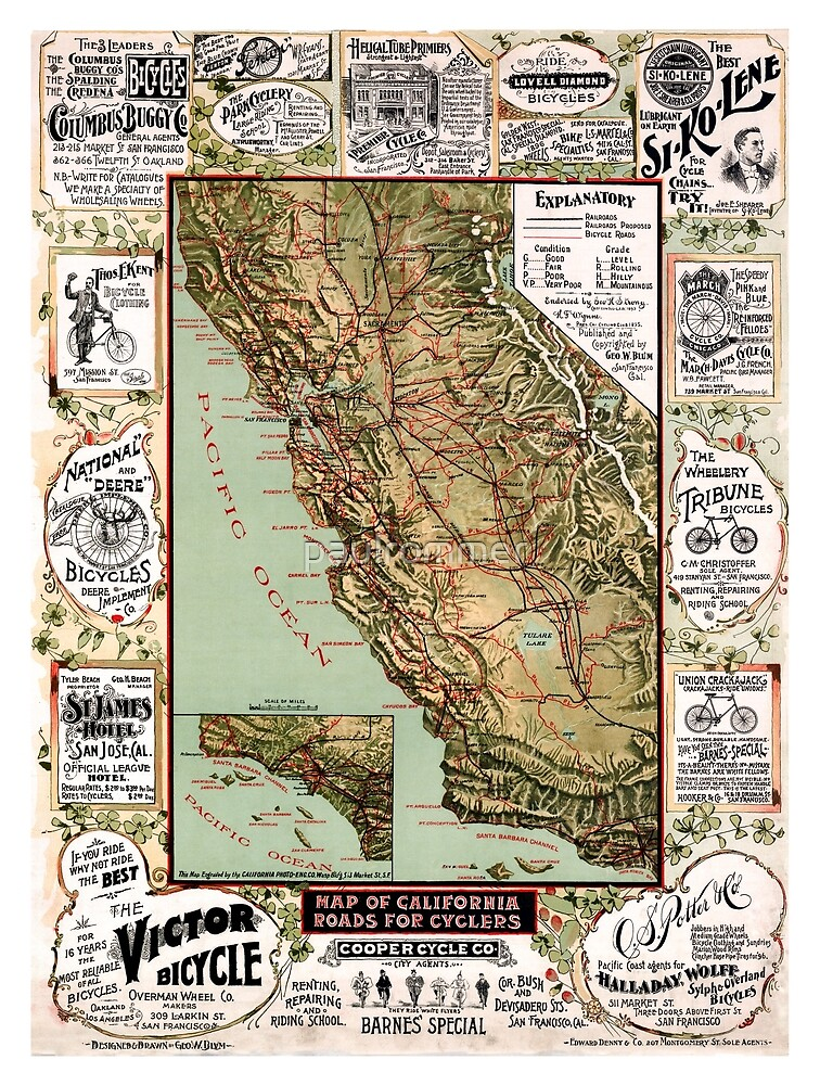 California - Roads map for cyclers - United States - 1895 by paulrommer