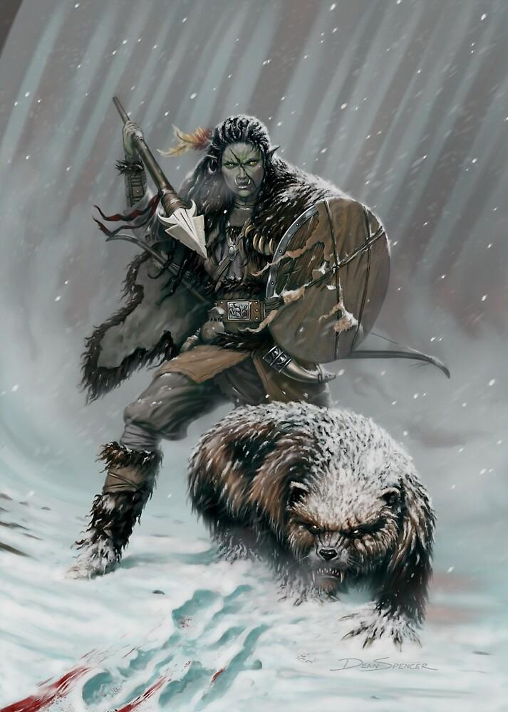 Orc Huntress & Wolverine by DeanSpencerArt