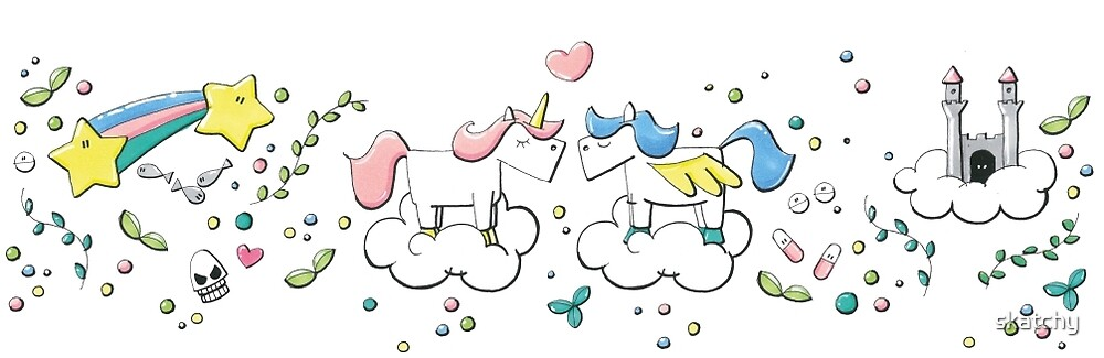 Unicorn & Pegasus by skatchy
