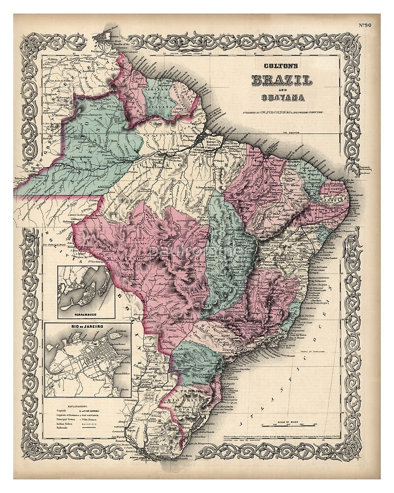 Colton's Brazil with Guayana - 1871 by paulrommer