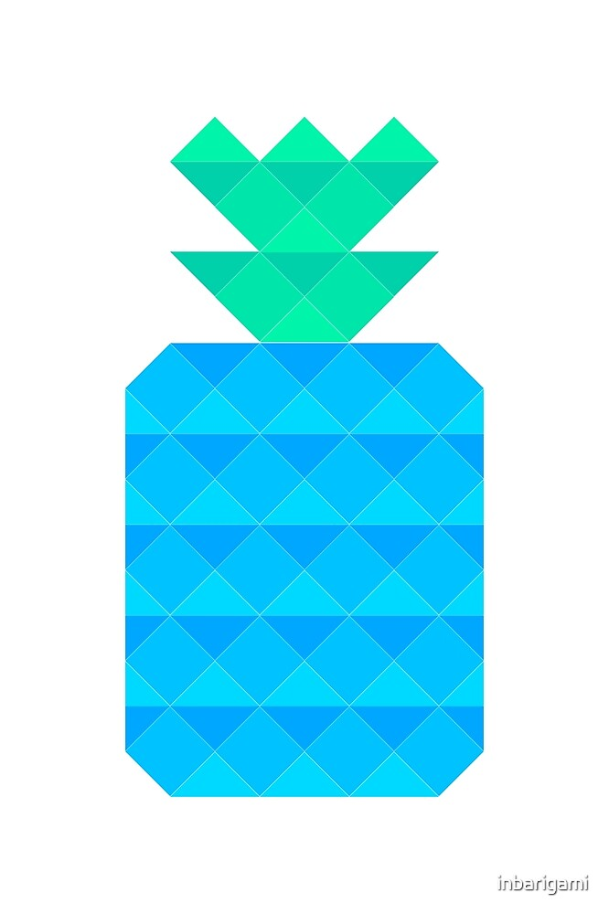 Blue Polygon Pineaplpe by inbarigami