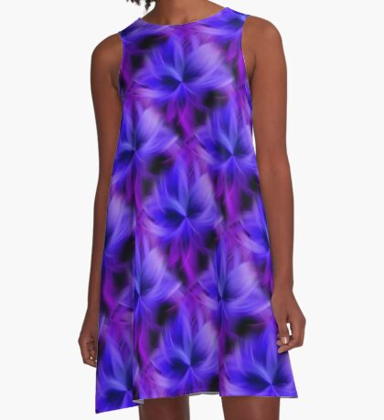Purple and Blue Petals Abstract A-Line Dress