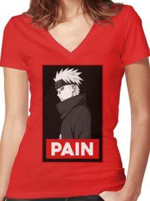Pain logo Women's Fitted V-Neck T-Shirt