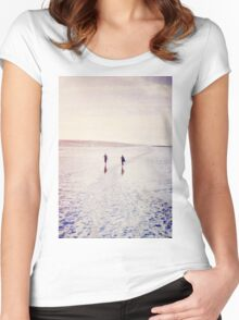 Surfers in the snow. Women's Fitted Scoop T-Shirt