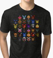 NEW - FNAF Multiple Animatronics - (Dec 2016) - Pixel art Tri-blend T-Shirt