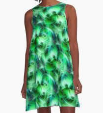 Vibrant Shades Of Green Swirls Abstract A-Line Dress
