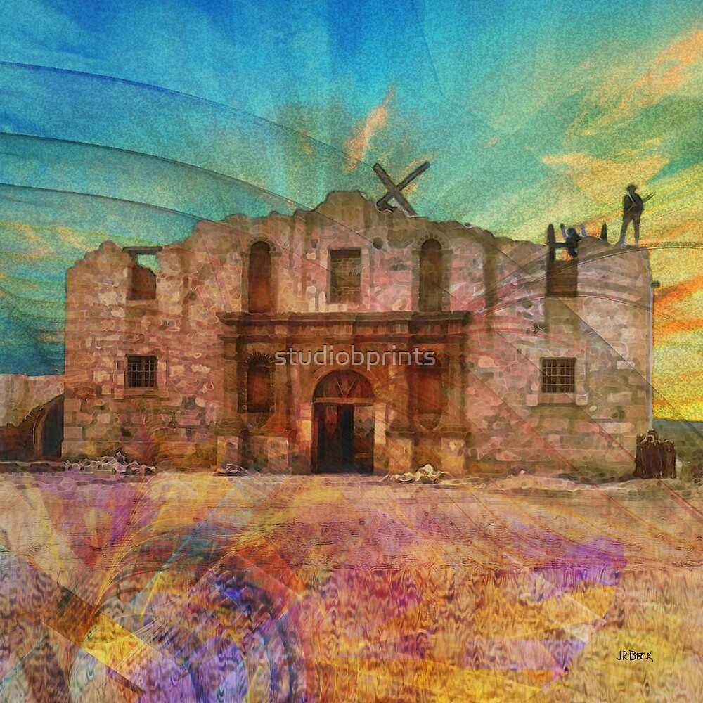 John Wayne's Alamo (Square Version) - By John Robert Beck by studiobprints