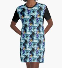 Swirling Shades Of Blue Abstract Graphic T-Shirt Dress