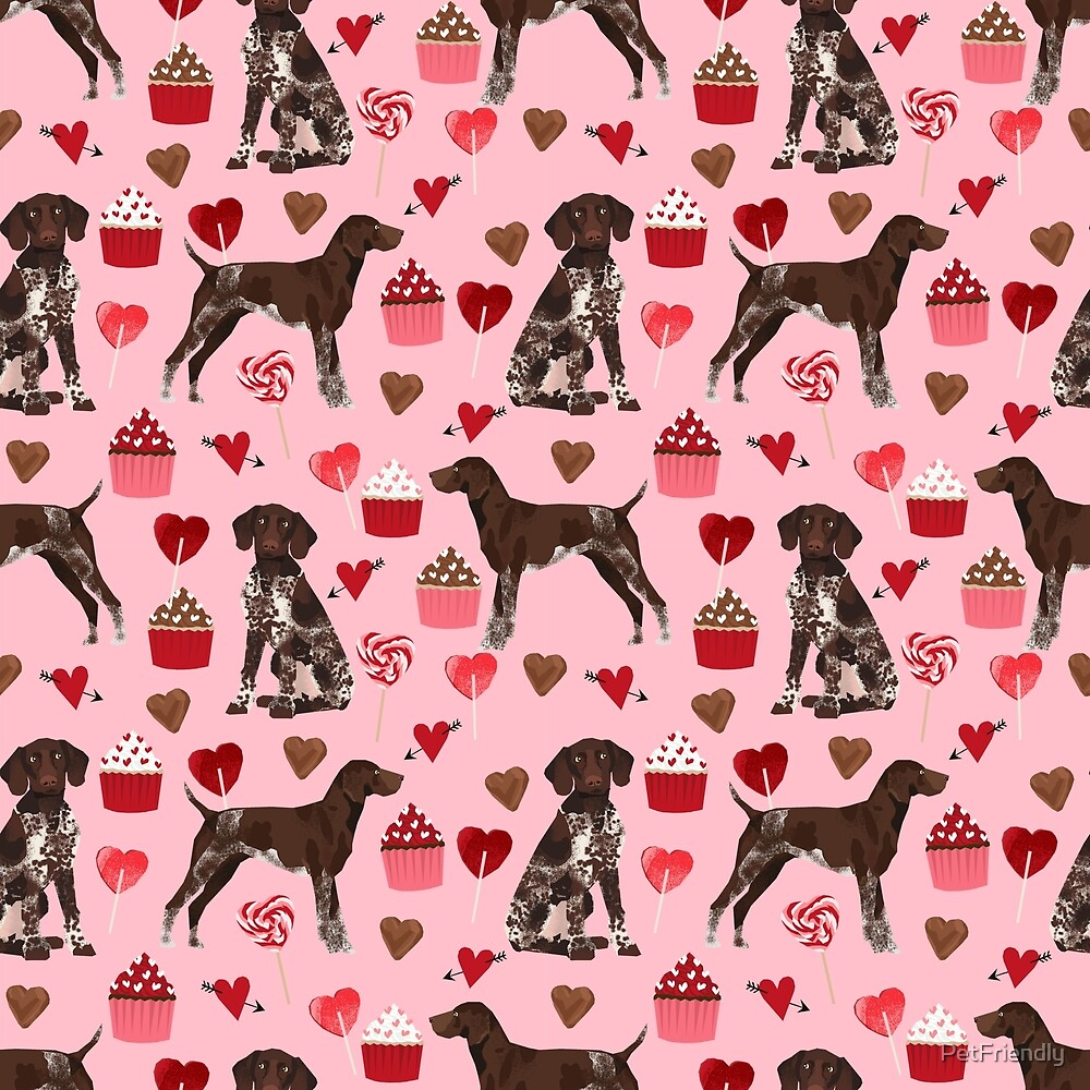 German Shorthair Pointer dog breed valentines day dog art custom gifts for dog lover unique breeds by PetFriendly
