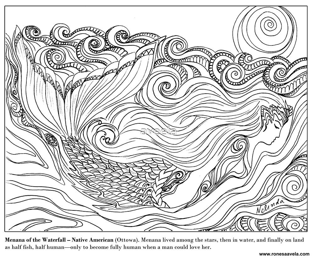 Menana of the Waterfall – Native American (Ottowa) #Mermaid by aveela