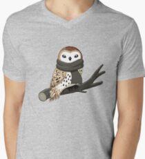 Winter-Eule T-Shirt mit V-Ausschnitt für Männer