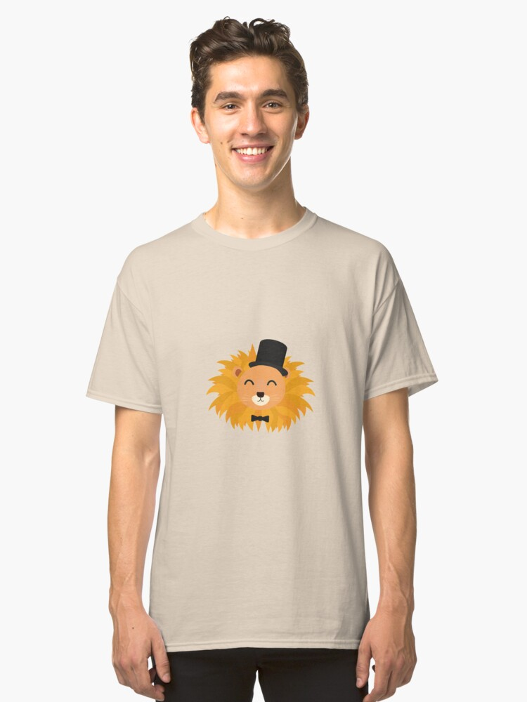 Lion head with cylinder Classic T-Shirt Front