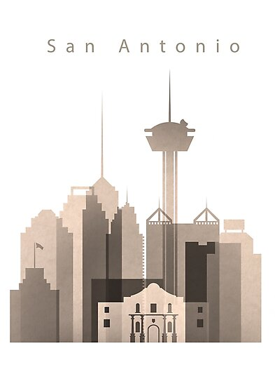 San Antonio Skyline, Texas, Sepia Color  by DimDom