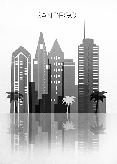 San Diego Skyline,Black and White San Diego California Art Decor     by DimDom
