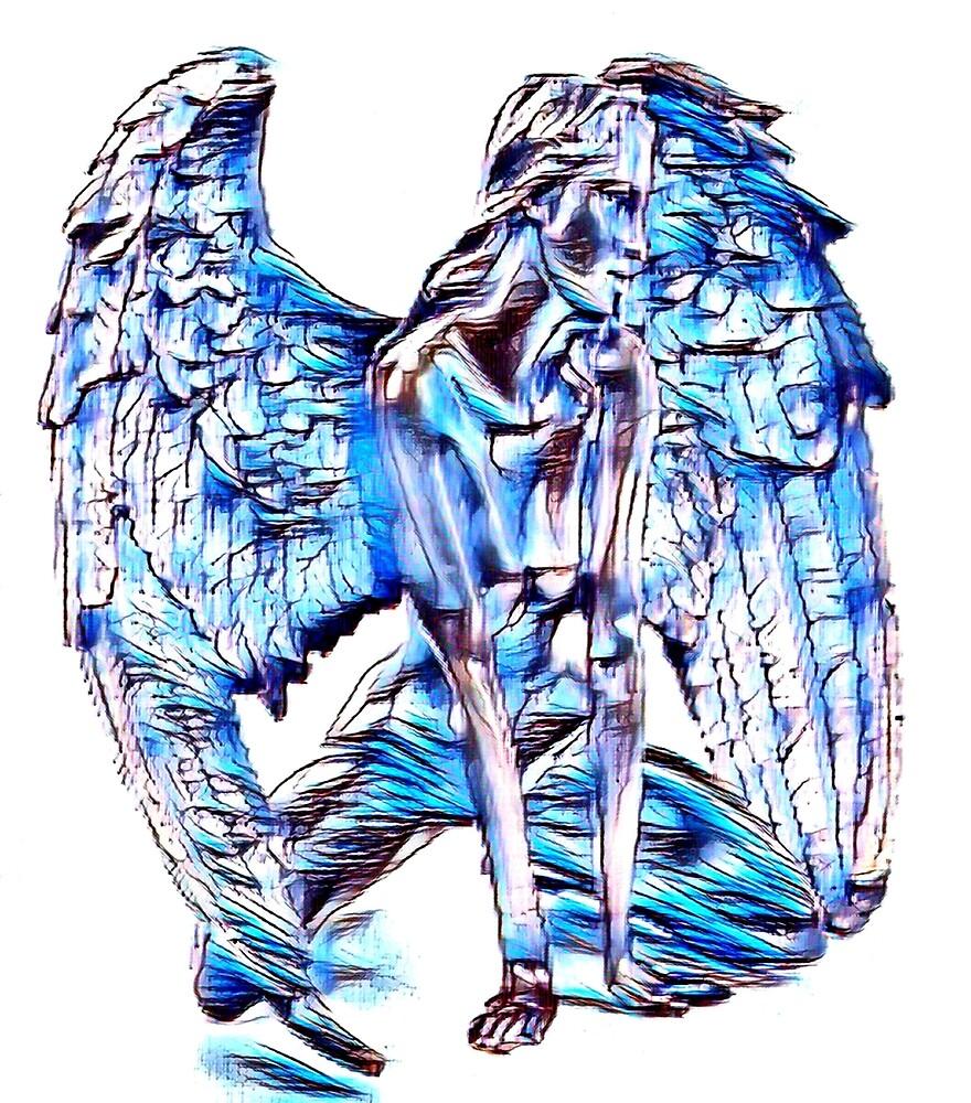 Sad Blue Guardian Angel by Johnhalifax