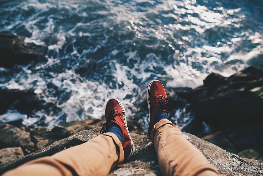 SHOES - RED - OCEAN - ROCKS by realphotoshop