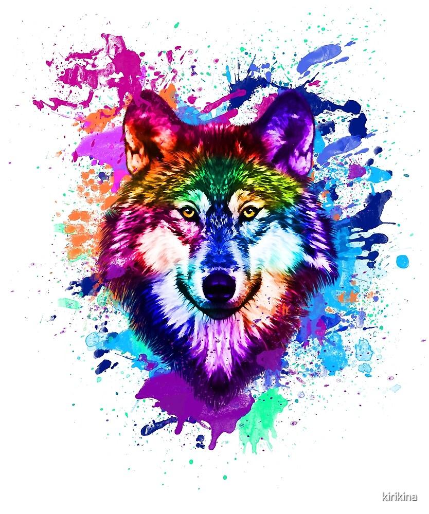 colorful wolf by kirikina
