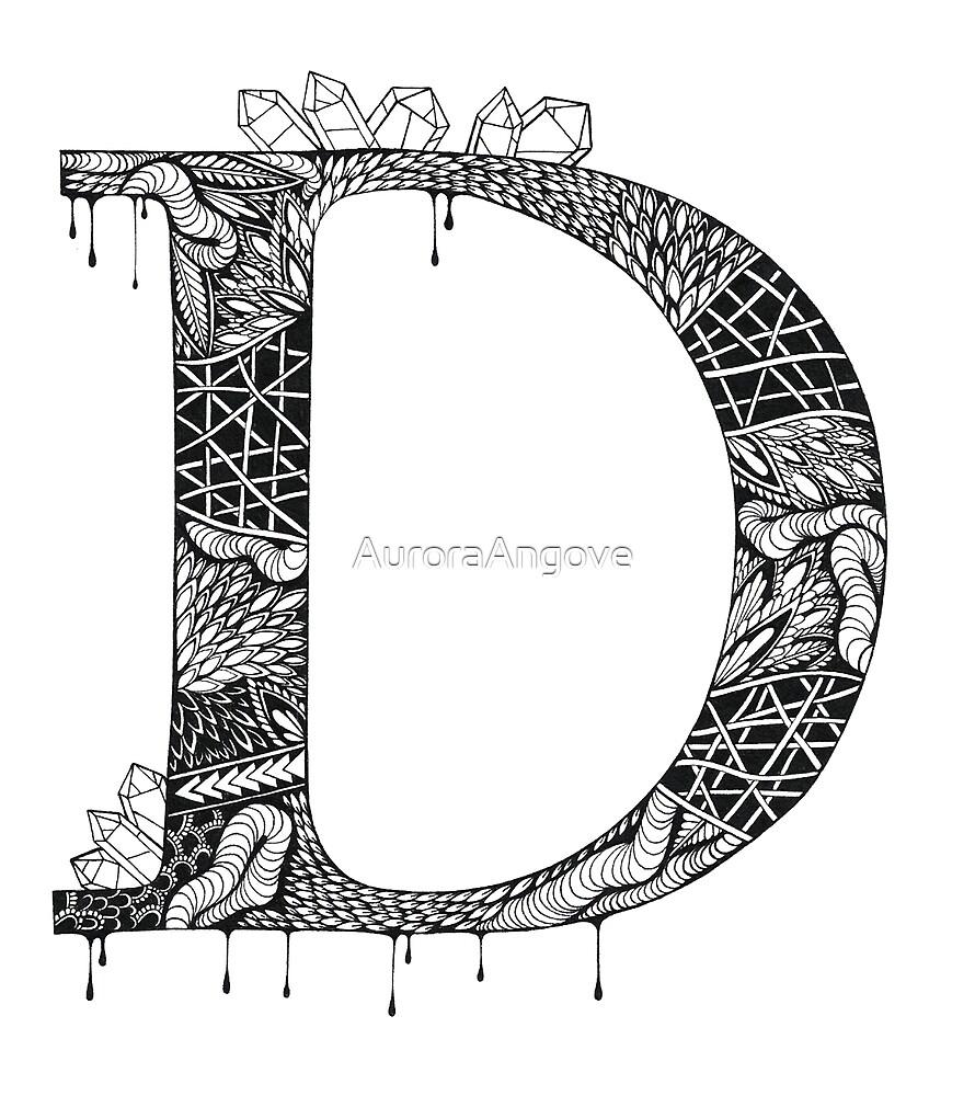 Zentangle D by AuroraAngove
