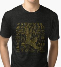 Egyptian Anubis & Hieroglyphics Tri-blend T-Shirt
