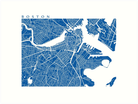 Boston Map Art Prints By Cartocreative Redbubble
