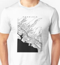 Honolulu Black and White Map Unisex T-Shirt