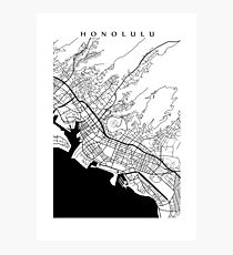 Honolulu Black and White Map Photographic Print