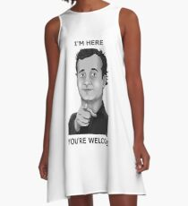 Bill Murray - I'm Here You're Welcome Black Writing A-Line Dress