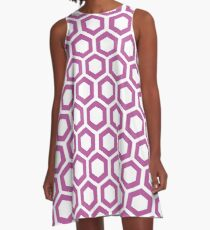 Hexagon,modern,trendy,pattern,white,cube,magnolia,dark red A-Line Dress