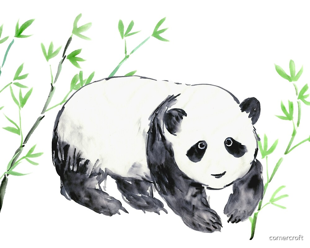 Panda and Bamboo  by cornercroft