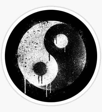 Yin Yang Spray Painted Sticker