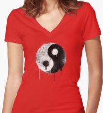 Yin Yang Spray Painted Women's Fitted V-Neck T-Shirt