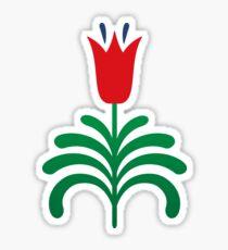 Red tulip sticker - scandinavian folk art inspired style Sticker
