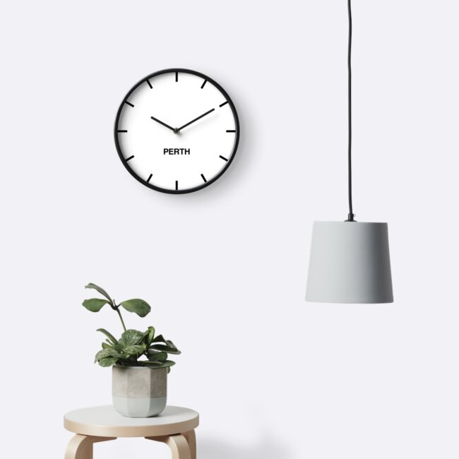 Perth Time Zone Newsroom Wall Clock by bluehugo