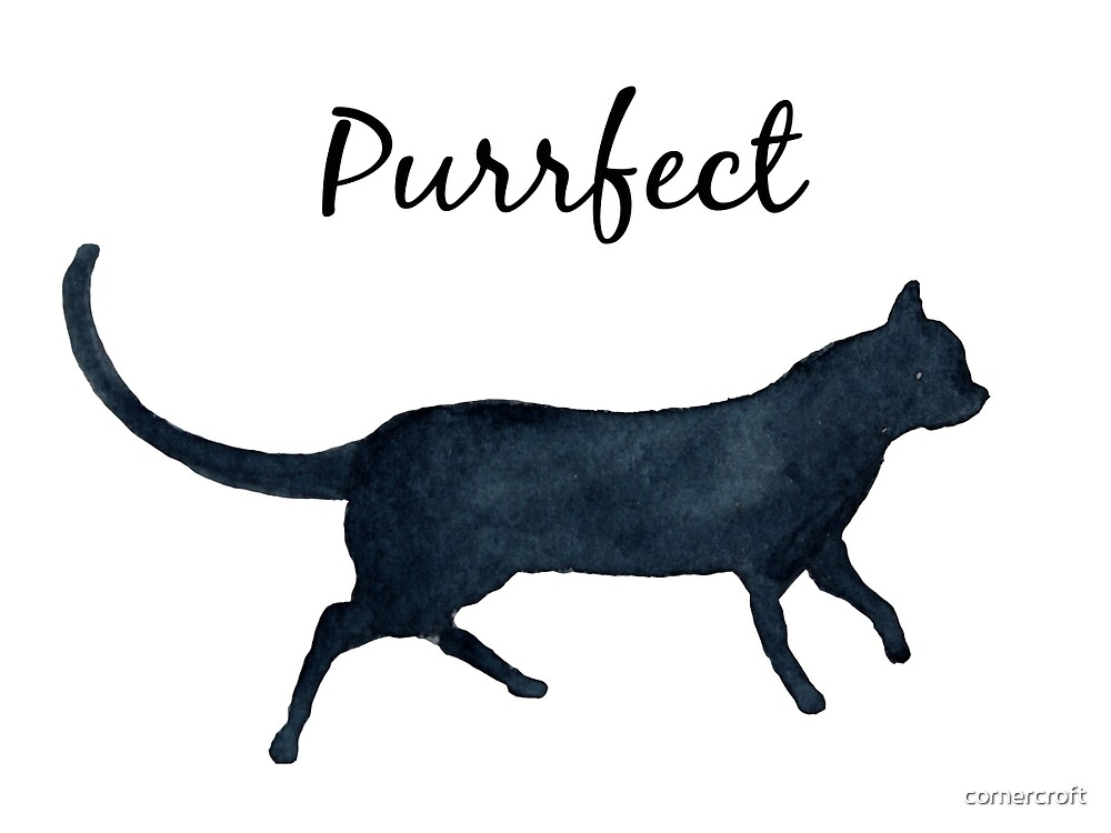 """Watercolor Cat """"purrfect"""" by cornercroft"""