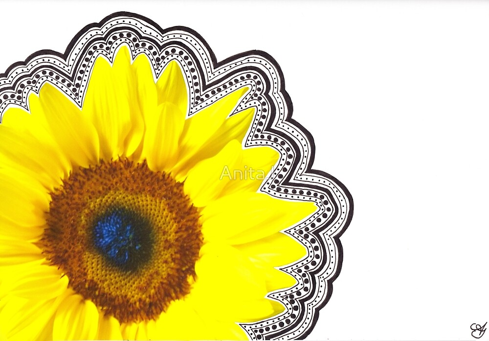 Sunflower with doodles by AnitaJ