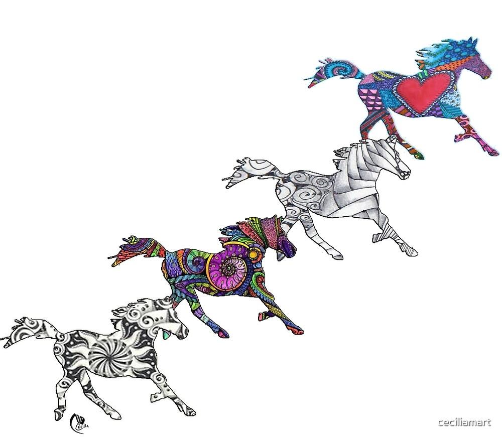 Horses Life color Puzzle by ceciliamart