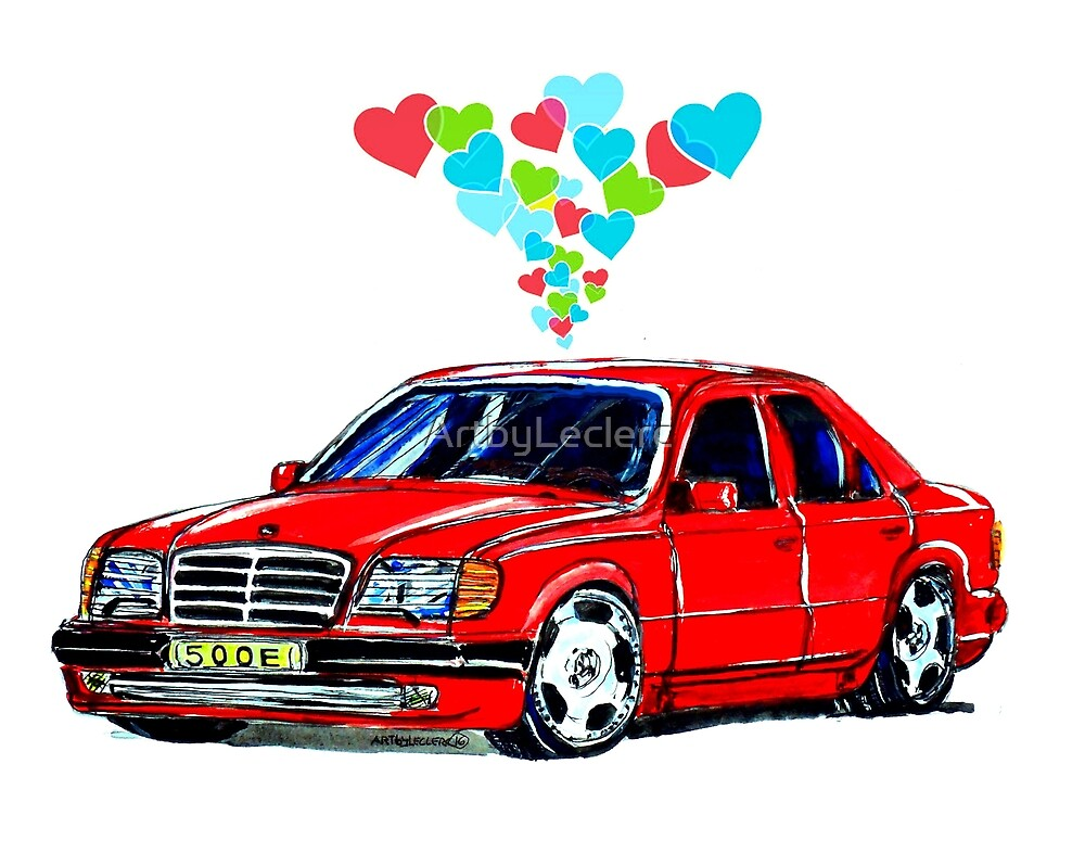 Mercedes 500E Love Hearts by ArtbyLeclerc