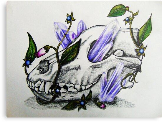 Wolf Skull, Amethyst & Deadly Nightshade  by The Art of  Christina Marin