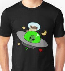 Space Pug Riding a UFO Unisex T-Shirt