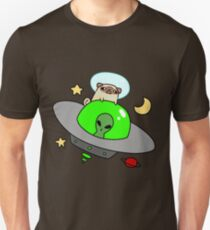 Space Pug Riding a UFO Unisex T-Shirt