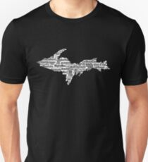 UP Upper Peninsula Michigan Word Art Graphic Yooper 906  Unisex T-Shirt