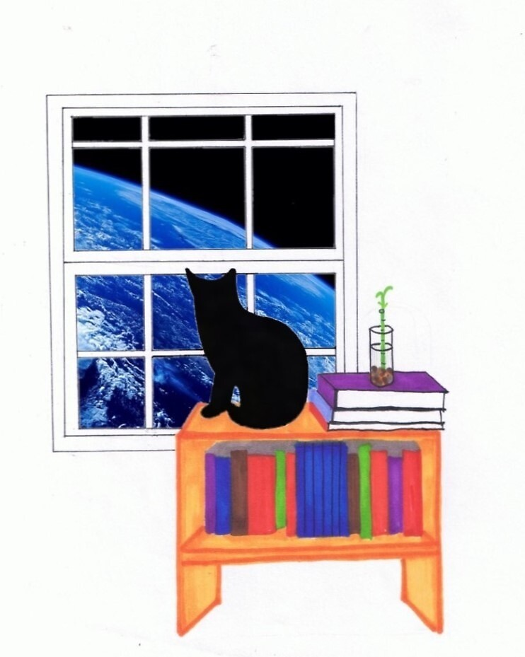 Cat looking at Earth by eviedimaggio