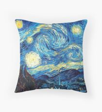 Starry Night Vincent Van Gogh Oil Painting Throw Pillow