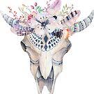 Boho Bull Skull & Flowers by artonwear